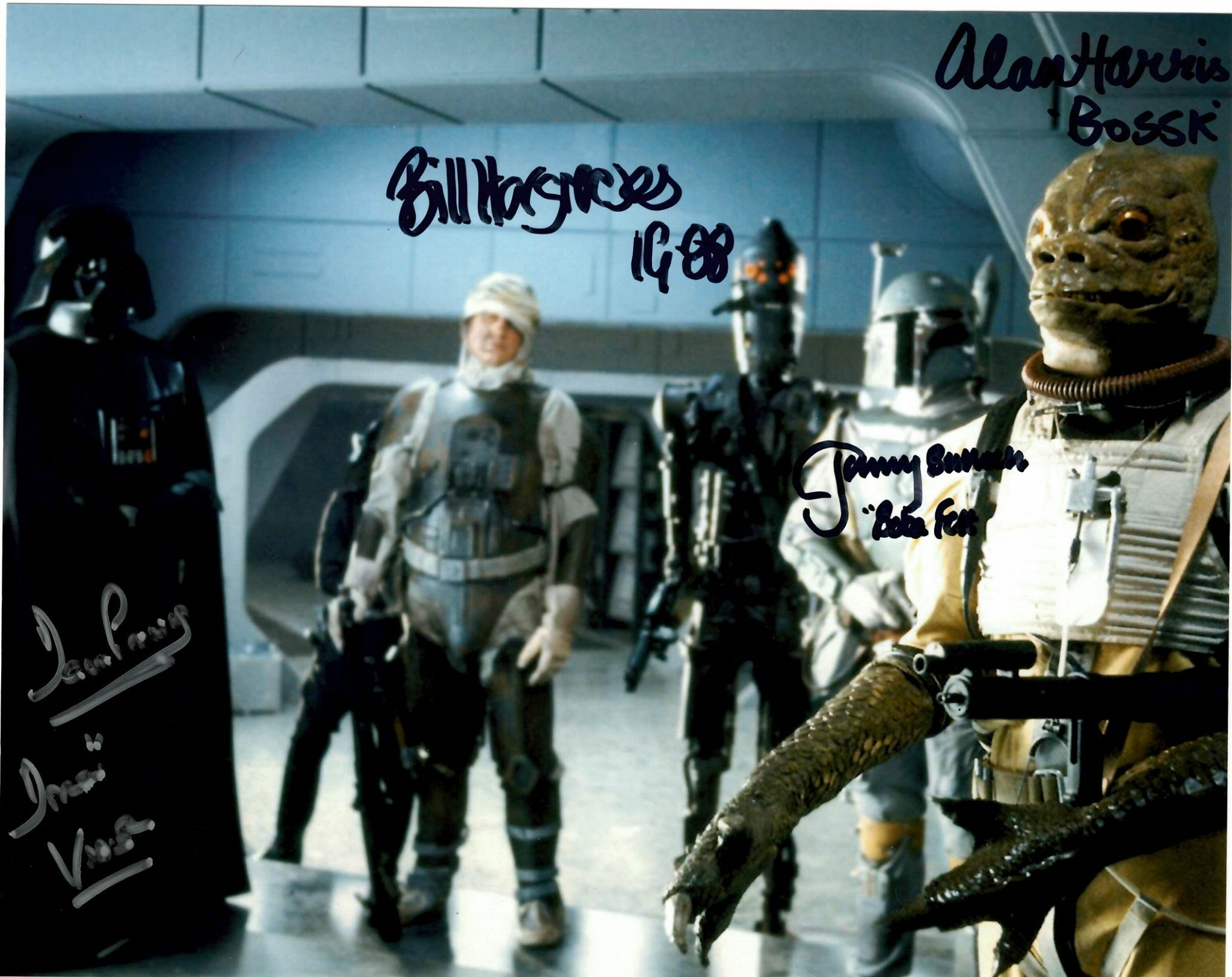 Star Wars Bounty Hunters Autograph Photo Darth Vader Ig 88 Boba Fett Bossk