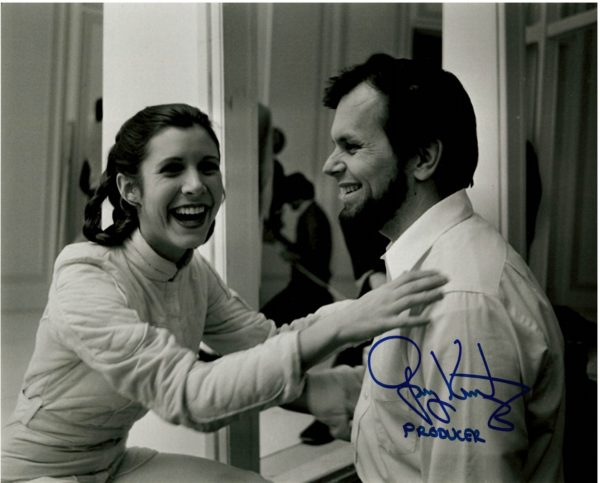 Gary Kurtz Autograph for sale w/Carrie Fisher Star Wars Producer.