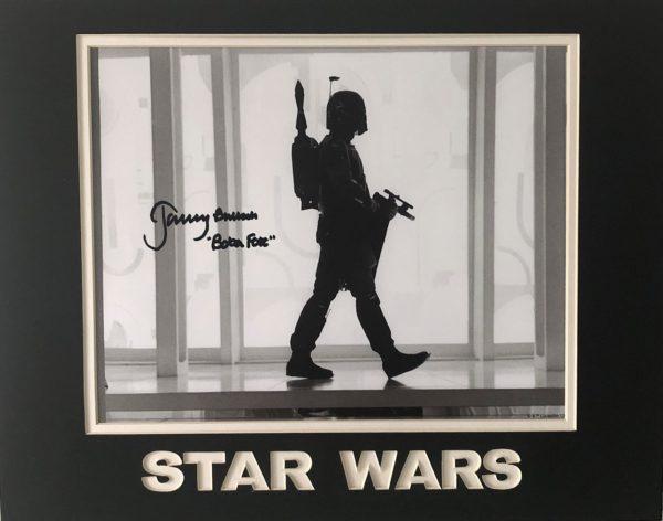 "Authentic Jeremy Bulloch Autographs Boba Fett original autograph. Black and white photograph measuring 8x10"" signed in black marker."