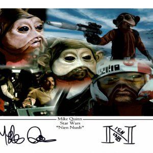 "Mike Quinn Signed Nien Nunb 16x12"" photograph Star Wars"