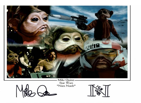 "Mike Quinn Signed Nien Nunb 16x12"" photograph Star Wars"