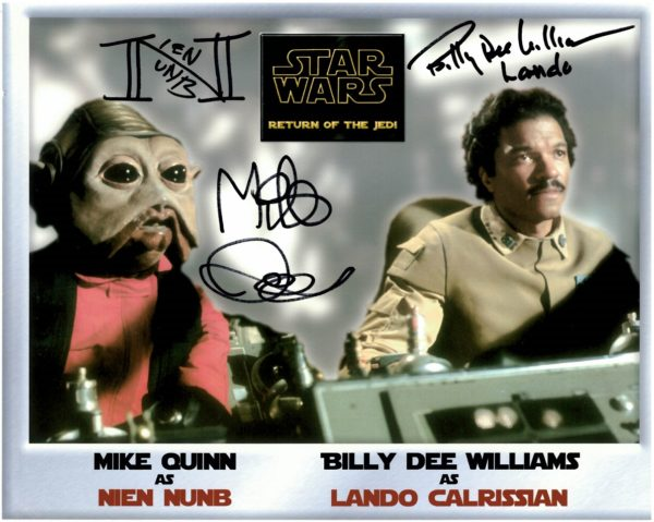 Authentic Billy Dee Williams Mike Quinn Autographs. Signed 8x10 photograph on black marker with actors adding their characters names Lando & Nien Nunb.