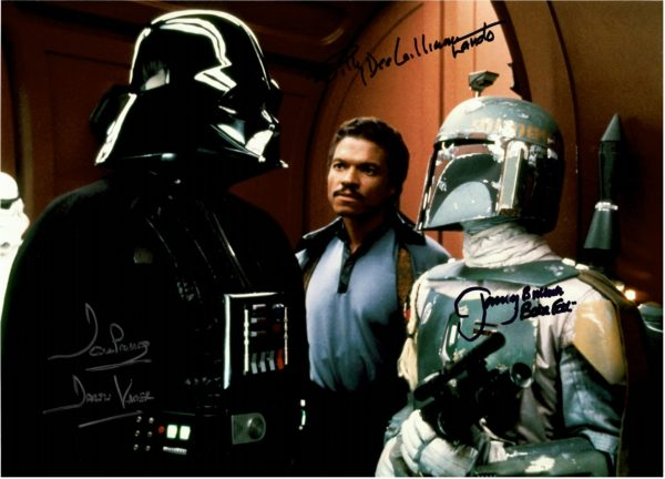 Dave Prowse Billy Dee Williams and Jeremy Bulloch autographs 16×12 photo Star Wars