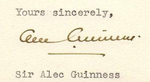 alec guinness autograph 1964