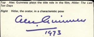 alec guinness autograph 1973