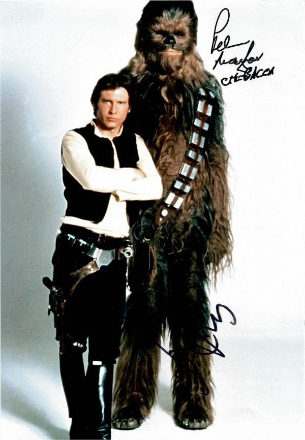 Harrison Ford Peter Mayhew autographs 11 5 x 8 inch