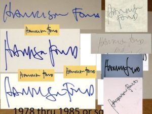 Harrison Ford autographs 1978 - 1985