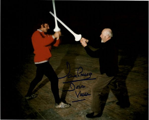 Dave Prowse Autograph photo training with Alec Guinness