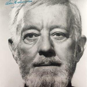 Authentic Alec Guinness signed Star Wars Obi Wan Kenobi photograph 8x10. Signed in blue ink.