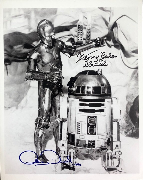 Anthony Daniels and Kenny Baker signed Star Wars Photo C-3P0 R2-D2