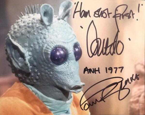 "Paul Blake Autographed Greedo Star Wars photograph 8x10"" 10"