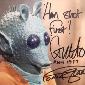 "Paul Blake Autographed Greedo Star Wars photograph 8x10"" 11"